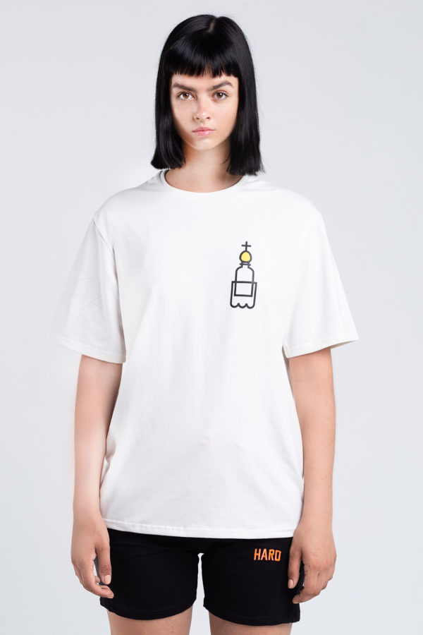 женская футболка оверсайз белая HARD PRIHOD