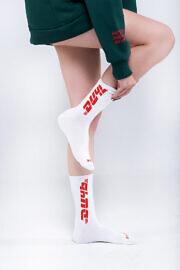 белые высокие носки hard
